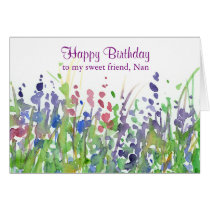 Purple Wildflower Meadow Happy Birthday Friend Card