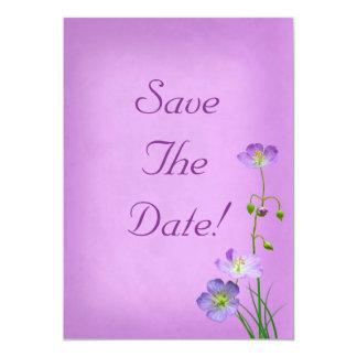 Purple Wildflower on Purple Save The Date Card