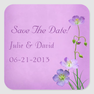 Purple Wildflower on Purple Save The Date Square Sticker