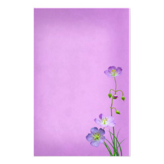 Purple Wildflower on Purple Personalized Stationery