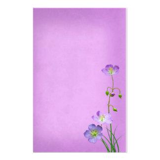 Purple Wildflower on Purple Personalized Stationery