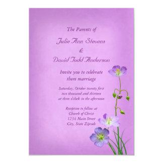 Purple Wildflower on Purple Wedding Card