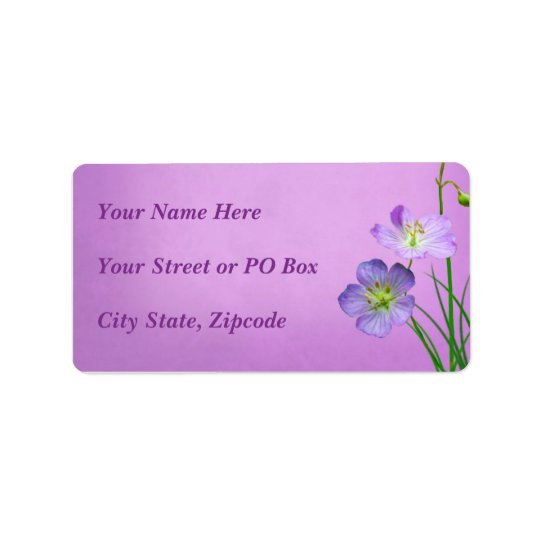 Purple Wildflower on Purple Wedding Label