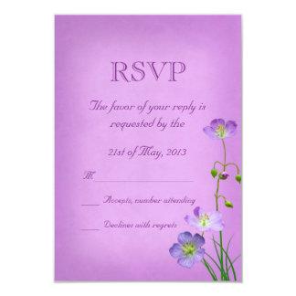 Purple Wildflower on Purple Wedding RSVP Card