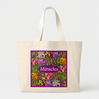 PURPLE WILDFLOWER PHOTO MIRACLES DESIGN LARGE TOTE BAG