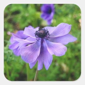 Purple Wildflower Square Stickers
