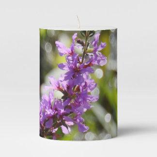 Purple Wildflower w/Sparkling Background Pillar Candle