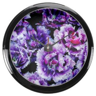 Purple Wildflowers Aqua Clocks