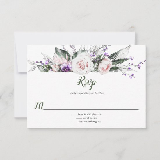 Purple Wildflowers Blush Pink Roses | RSVP Card