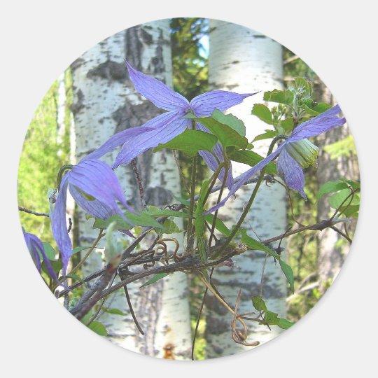 Purple Wildflowers Classic Round Sticker