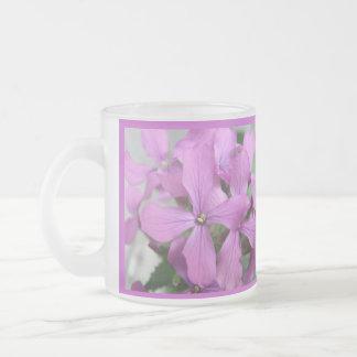 Purple Wildflowers Frosted Glass Mug
