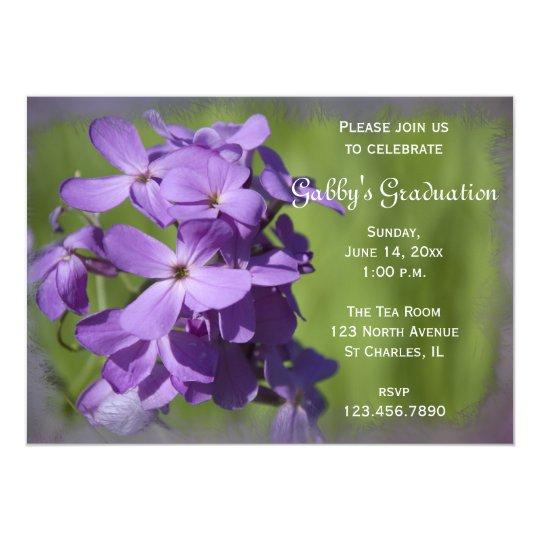 Purple Wildflowers Graduation Party Invitation