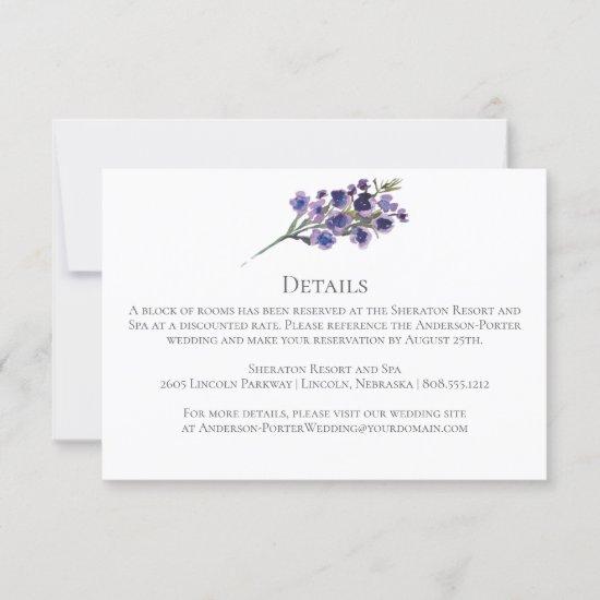 Purple Wildflowers Greenery Enclosure/Detail Cards