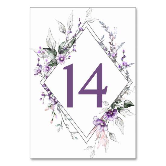 Purple Wildflowers Greenery Floral Wedding | Table Number