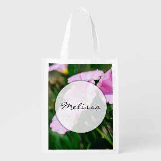 Purple Wildflowers In A Summer Sun Photograph Reusable Grocery Bags