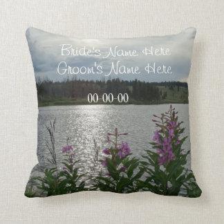 Purple Wildflowers Mt. Lake, custom wedding names Throw Pillow