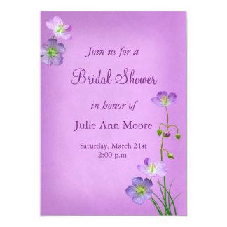 Purple Wildflowers on Purple Bridal Shower Card