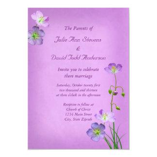 Purple Wildflowers on Purple Wedding Card