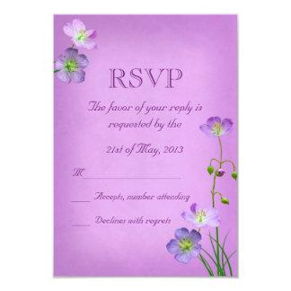 Purple Wildflowers on Purple Wedding RSVP Card