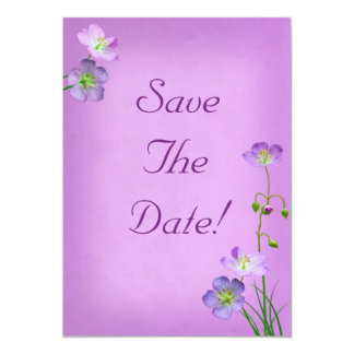 Purple Wildflowers on Purple Wedding Save The Date Card