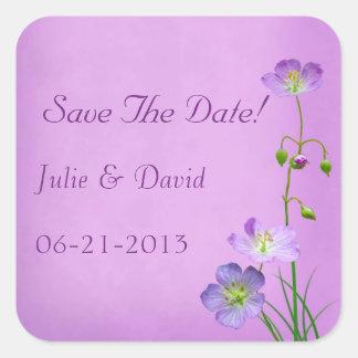 Purple Wildflowers on Purple Wedding Save The Date Square Sticker
