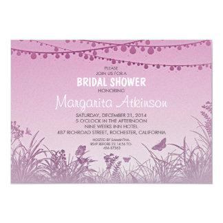 purple wildflowers string lights bridal shower card