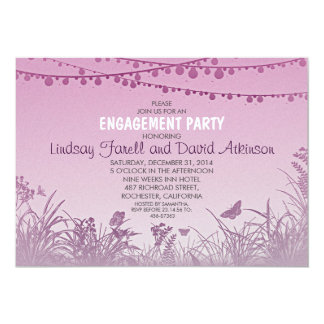 purple wildflowers string lights engagement party card