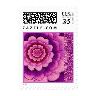 Purple Wine Peach Wedding Flower Postage