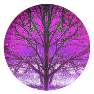 Purple Winter Art Photo Plastic Picnic Plate