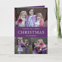 Purple Winter Christmas Photo Collage Holiday Card