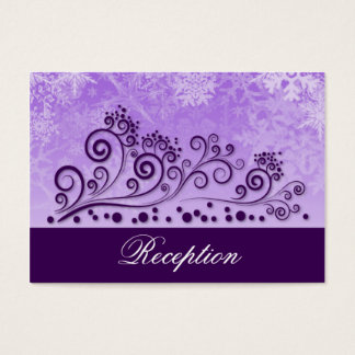 Purple Winter Snowflake Wedding Reception Cards