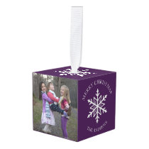 Purple Winter Snowflakes Holiday Christmas Photo Cube Ornament
