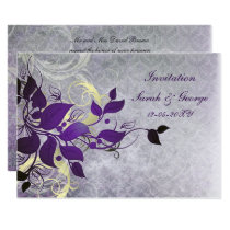 purple winter wedding Invitation cards