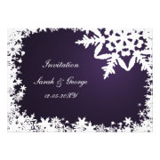 purple and white snowflakes winter wedding invites by mgdezigns
