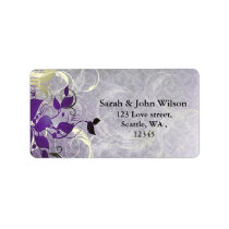 purple winter wedding leaves return address label