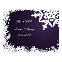 purple winter Wedding rsvp card