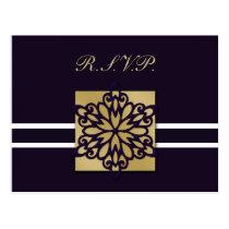 purple winter Wedding rsvp card