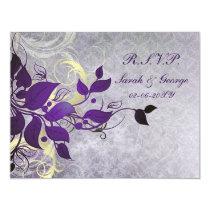 purple winter wedding rsvp cards