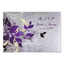 purple winter wedding rsvp standard 3.5 x 5 card