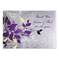 purple winter wedding Thank You Card