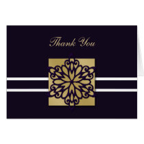 purple winter wedding Thank You Card