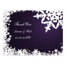 purple winter wedding Thank You Postcard