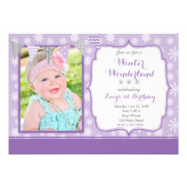 Purple Winter Wonderland Birthday Invitation Card