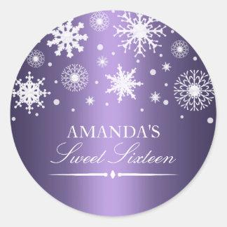 Purple Winter Wonderland Sweet 16 Sticker