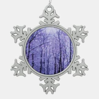 Purple Winter Woods Ornaments