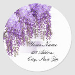Purple Wisteria Address Sticker at Zazzle