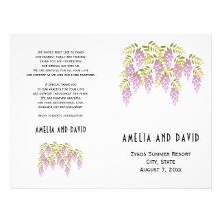Purple wisteria floral folded wedding program