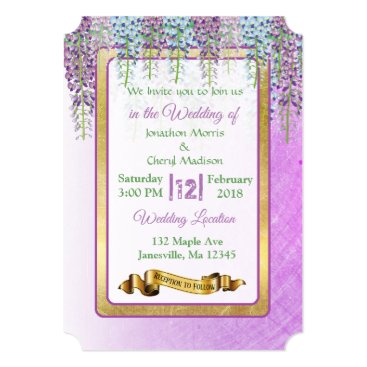 Wedding Themed Purple Wisteria Floral Wedding Invitations