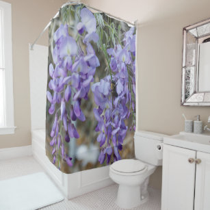 Purple Wisteria Flower In Spring With Bee Photo Shower Curtain