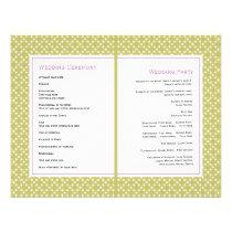 Purple wisteria, green pattern wedding program